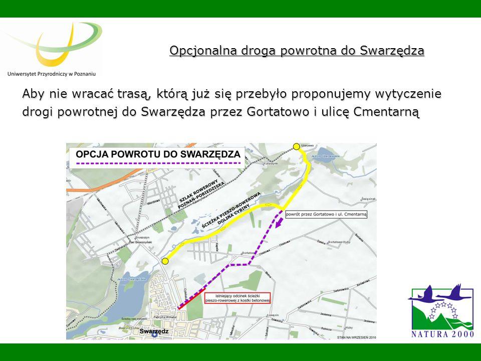 Opcjonalna droga powrotna do Swarzędza Aby nie wracać trasą, którą już się przebyło proponujemy wytyczenie drogi powrotnej do Swarzędza przez Gortatowo i ulicę Cmentarną