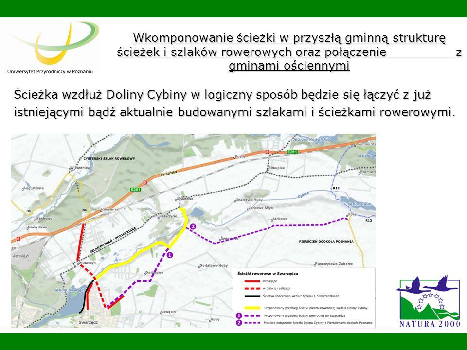 Wkomponowanie ścieżki w przyszłą gminną strukturę ścieżek i szlaków rowerowych oraz połączenie z gminami ościennymi Ścieżka wzdłuż Doliny Cybiny w logiczny sposób będzie się łączyć z już istniejącymi bądź aktualnie budowanymi szlakami i ścieżkami rowerowymi.