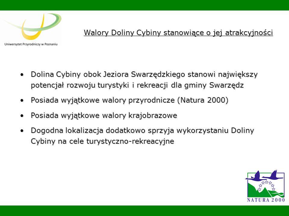 Dolina Cybiny obok Jeziora Swarzędzkiego stanowi największy potencjał rozwoju turystyki i rekreacji dla gminy SwarzędzDolina Cybiny obok Jeziora Swarzędzkiego stanowi największy potencjał rozwoju turystyki i rekreacji dla gminy Swarzędz Posiada wyjątkowe walory przyrodnicze (Natura 2000)Posiada wyjątkowe walory przyrodnicze (Natura 2000) Posiada wyjątkowe walory krajobrazowePosiada wyjątkowe walory krajobrazowe Dogodna lokalizacja dodatkowo sprzyja wykorzystaniu Doliny Cybiny na cele turystyczno-rekreacyjneDogodna lokalizacja dodatkowo sprzyja wykorzystaniu Doliny Cybiny na cele turystyczno-rekreacyjne Walory Doliny Cybiny stanowiące o jej atrakcyjności