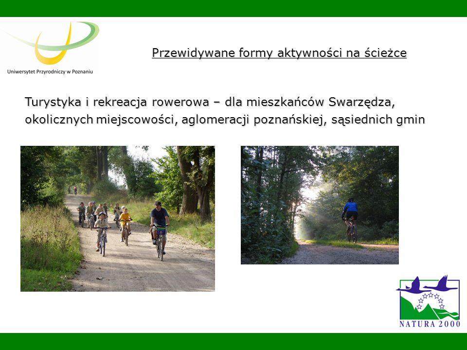 Przewidywane formy aktywności na ścieżce Turystyka i rekreacja rowerowa – dla mieszkańców Swarzędza, okolicznych miejscowości, aglomeracji poznańskiej, sąsiednich gmin