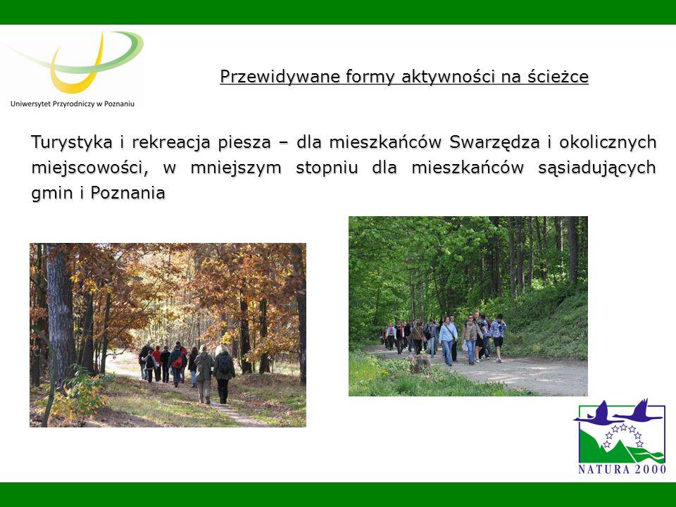 Przewidywane formy aktywności na ścieżce Turystyka i rekreacja piesza – dla mieszkańców Swarzędza i okolicznych miejscowości, w mniejszym stopniu dla mieszkańców sąsiadujących gmin i Poznania