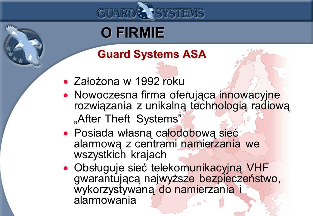 1.2 O FIRMIE O FIRMIE Założona w 1992 roku Nowoczesna firma oferująca innowacyjne rozwiązania z unikalną technologią radiową After Theft Systems Posiada własną całodobową sieć alarmową z centrami namierzania we wszystkich krajach Obsługuje sieć telekomunikacyjną VHF gwarantującą najwyższe bezpieczeństwo, wykorzystywaną do namierzania i alarmowania Guard Systems ASA