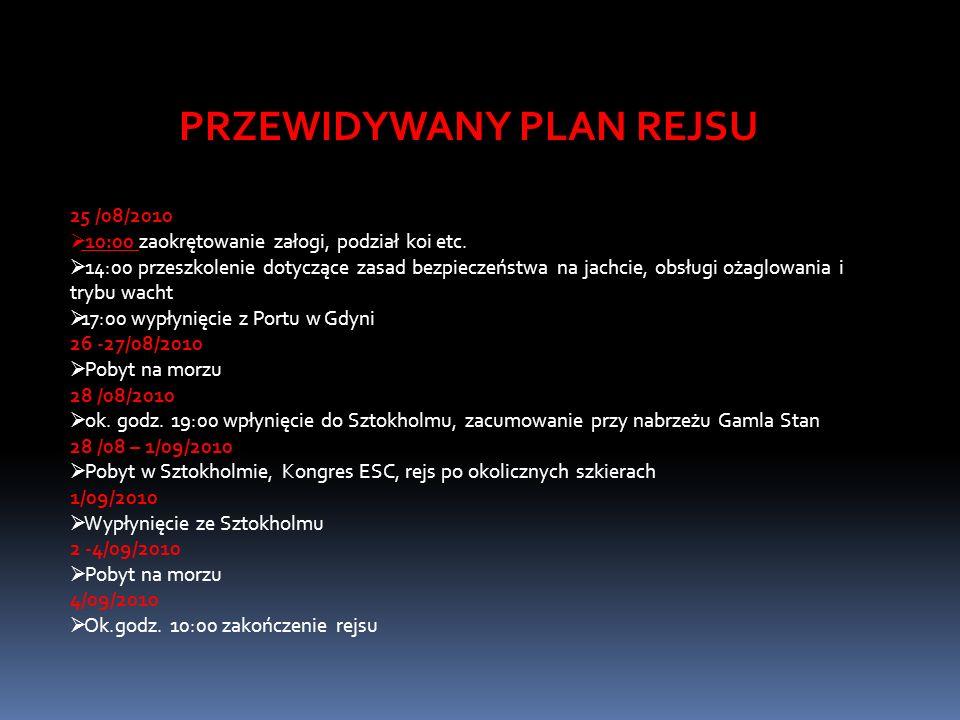PRZEWIDYWANY PLAN REJSU 25 /08/2010 10:00 zaokrętowanie załogi, podział koi etc.
