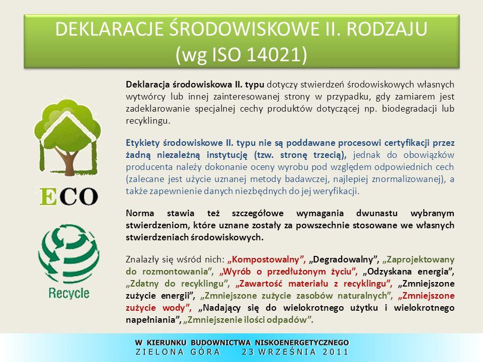 DEKLARACJE ŚRODOWISKOWE III.RODZAJU (wg ISO TR 14025) Etykiety środowiskowe III.