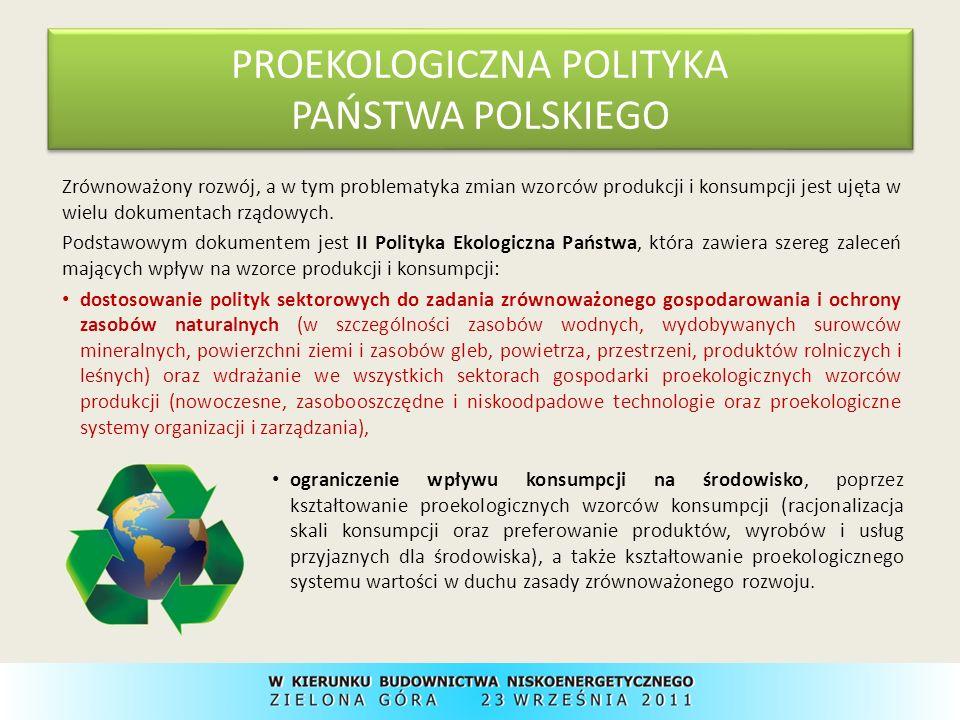 II Polityka Ekologiczna Państwa – postuluje zmniejszenie materiałochłonności i odpadowości produkcji, szerokie upowszechnienie, wzorem ocen oddziaływania na środowisko, ocen cyklu życiowego produktu; wprowadzenie ustawowego obowiązku wykonywania takich ocen dla grup produktów o wysokiej materiałochłonności i odpadowości oraz produktów zawierających substancje niebezpieczne dla środowiska.