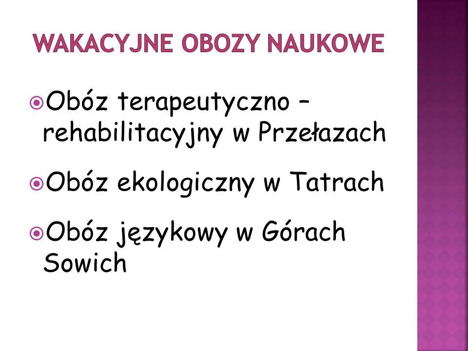 Obóz terapeutyczno – rehabilitacyjny w Przełazach Obóz ekologiczny w Tatrach Obóz językowy w Górach Sowich