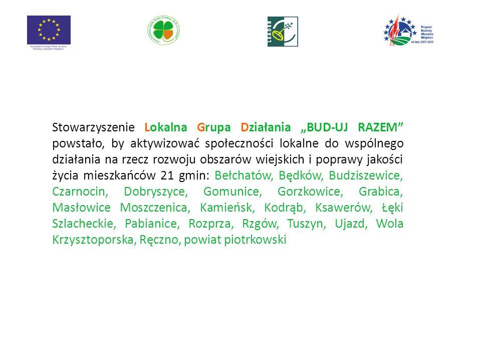 Stowarzyszenie Lokalna Grupa Działania BUD-UJ RAZEM powstało, by aktywizować społeczności lokalne do wspólnego działania na rzecz rozwoju obszarów wiejskich i poprawy jakości życia mieszkańców 21 gmin: Bełchatów, Będków, Budziszewice, Czarnocin, Dobryszyce, Gomunice, Gorzkowice, Grabica, Masłowice Moszczenica, Kamieńsk, Kodrąb, Ksawerów, Łęki Szlacheckie, Pabianice, Rozprza, Rzgów, Tuszyn, Ujazd, Wola Krzysztoporska, Ręczno, powiat piotrkowski 2