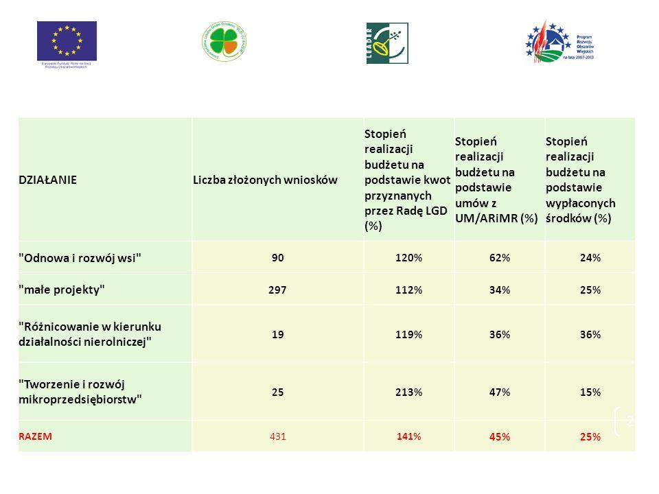 DZIAŁANIELiczba złożonych wniosków Stopień realizacji budżetu na podstawie kwot przyznanych przez Radę LGD (%) Stopień realizacji budżetu na podstawie umów z UM/ARiMR (%) Stopień realizacji budżetu na podstawie wypłaconych środków (%) Odnowa i rozwój wsi 90120%62%24% małe projekty 297112%34%25% Różnicowanie w kierunku działalności nierolniczej 19119%36% Tworzenie i rozwój mikroprzedsiębiorstw 25213%47%15% RAZEM431141% 45%25% 26
