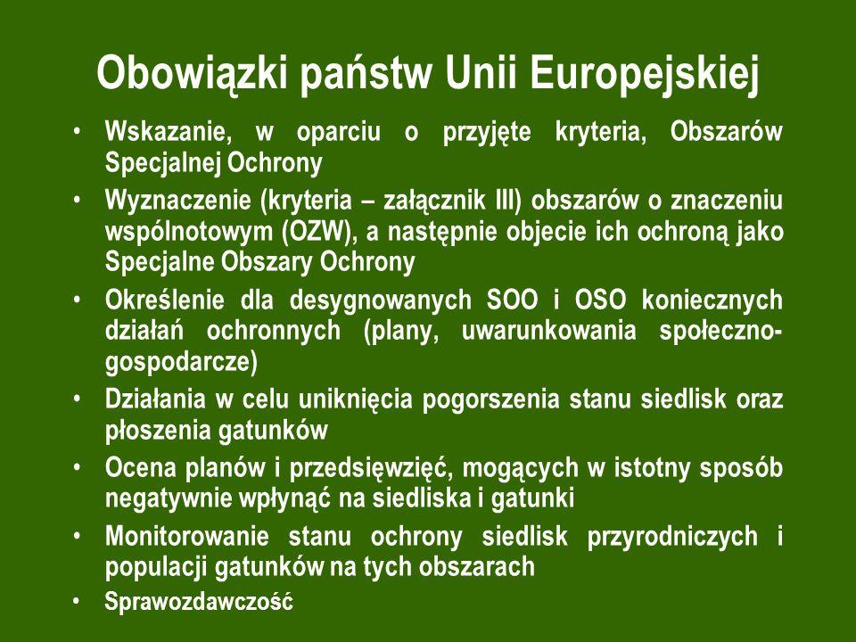 Obowiązki państw Unii Europejskiej Wskazanie, w oparciu o przyjęte kryteria, Obszarów Specjalnej Ochrony Wyznaczenie (kryteria – załącznik III) obszar