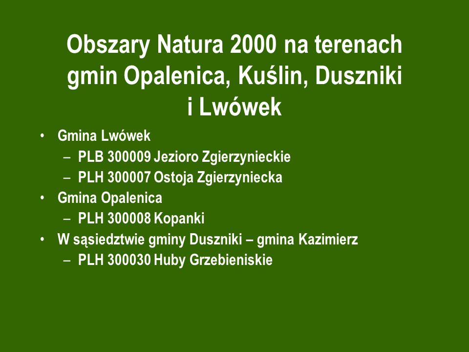 Obszary Natura 2000 na terenach gmin Opalenica, Kuślin, Duszniki i Lwówek Gmina Lwówek – PLB 300009 Jezioro Zgierzynieckie – PLH 300007 Ostoja Zgierzy