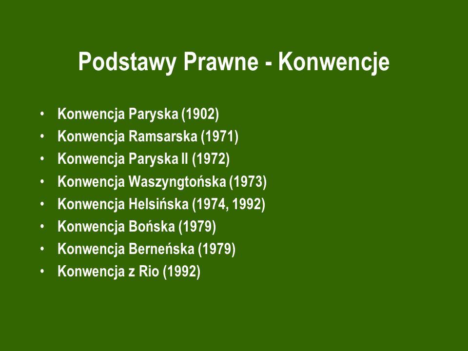 Podstawy Prawne - Konwencje Konwencja Paryska (1902) Konwencja Ramsarska (1971) Konwencja Paryska II (1972) Konwencja Waszyngtońska (1973) Konwencja H
