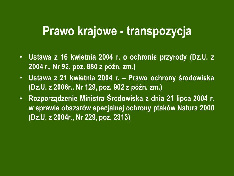 Prawo krajowe - transpozycja Ustawa z 16 kwietnia 2004 r. o ochronie przyrody (Dz.U. z 2004 r., Nr 92, poz. 880 z późn. zm.) Ustawa z 21 kwietnia 2004
