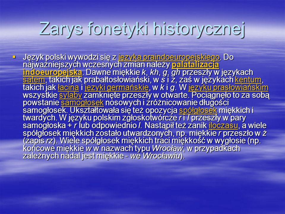 Zarys fonetyki historycznej Język polski wywodzi się z języka praindoeuropejskiego.