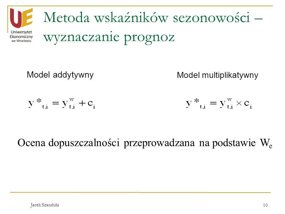 Jacek Szanduła 10 Metoda wskaźników sezonowości – wyznaczanie prognoz Model addytywny Model multiplikatywny Ocena dopuszczalności przeprowadzana na po