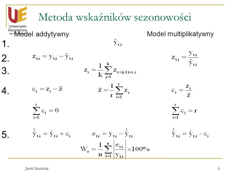 Jacek Szanduła 9 Metoda wskaźników sezonowości Model addytywny Model multiplikatywny 1. 2. 3. 4. 5.