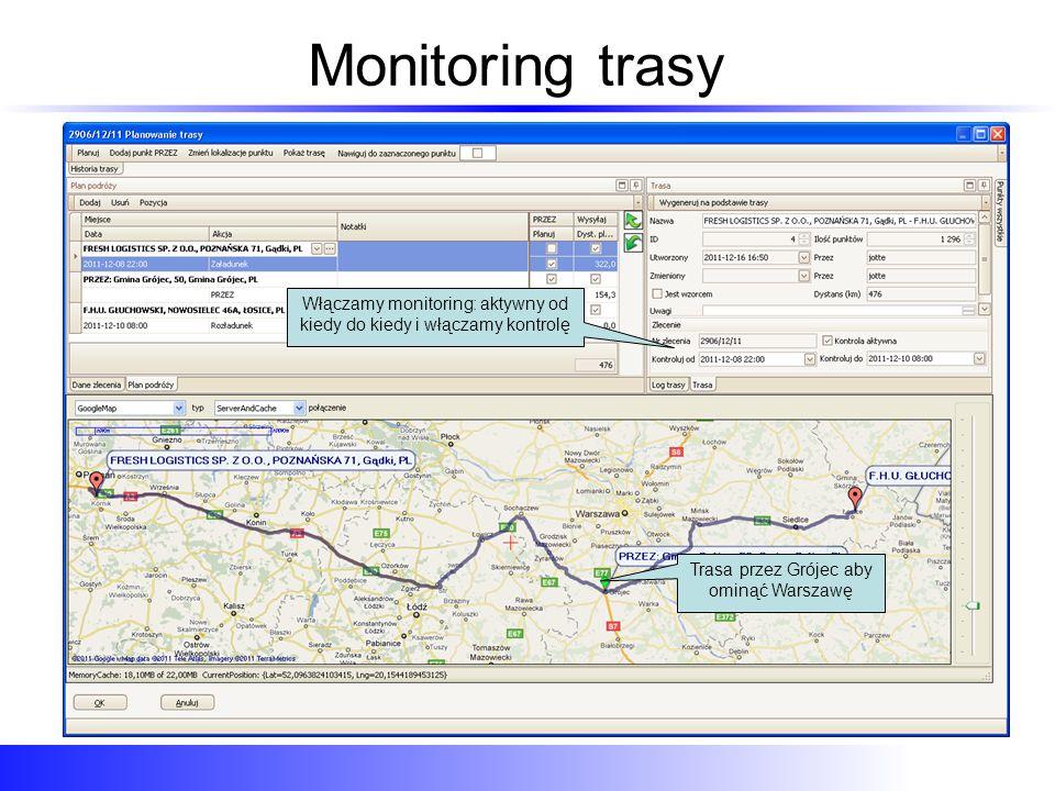 Monitoring trasy - realizacja W każdej chwili na tabeli aktywnych zleceń, do każdego zlecenia są dostępne informacje na bieżąco Pojazd który realizuje zlecenie Pozycja pojazdu Czy jest na zaplanowanej trasie Pojazd który realizuje zlecenie Jego pozycja, oczywiście jest też dostępny widok mapy Jego pozycja względem zaplanowanej trasy – Na trasie lub Poza trasą