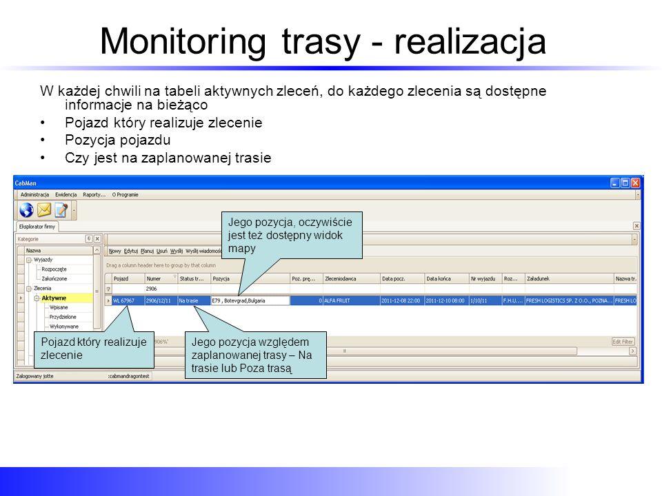 Monitoring trasy - realizacja W każdej chwili na tabeli aktywnych zleceń, do każdego zlecenia są dostępne informacje na bieżąco Pojazd który realizuje