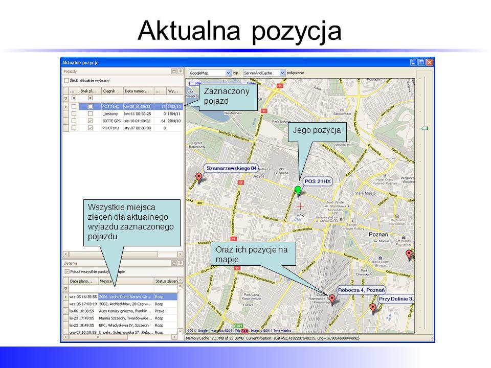 Aktualna pozycja Zaznaczony pojazd Jego pozycja Wszystkie miejsca zleceń dla aktualnego wyjazdu zaznaczonego pojazdu Oraz ich pozycje na mapie