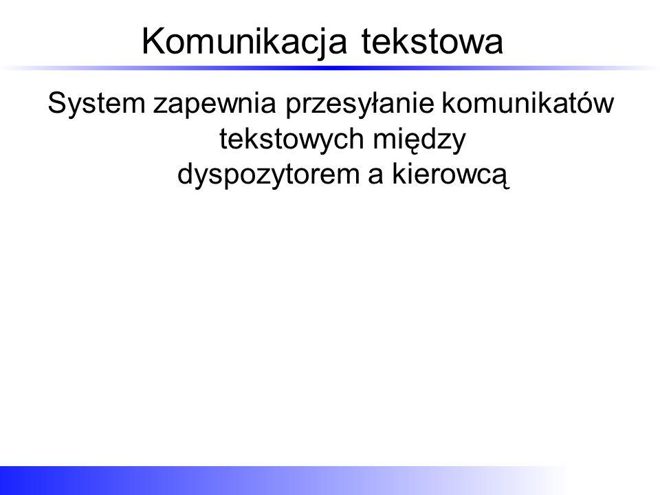 Komunikacja tekstowa System zapewnia przesyłanie komunikatów tekstowych między dyspozytorem a kierowcą