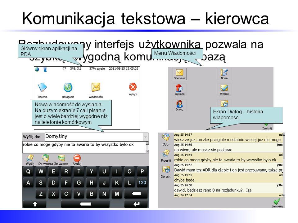 Komunikacja tekstowa – kierowca Rozbudowany interfejs użytkownika pozwala na szybką i wygodną komunikację z bazą Główny ekran aplikacji na PDA Menu Wi