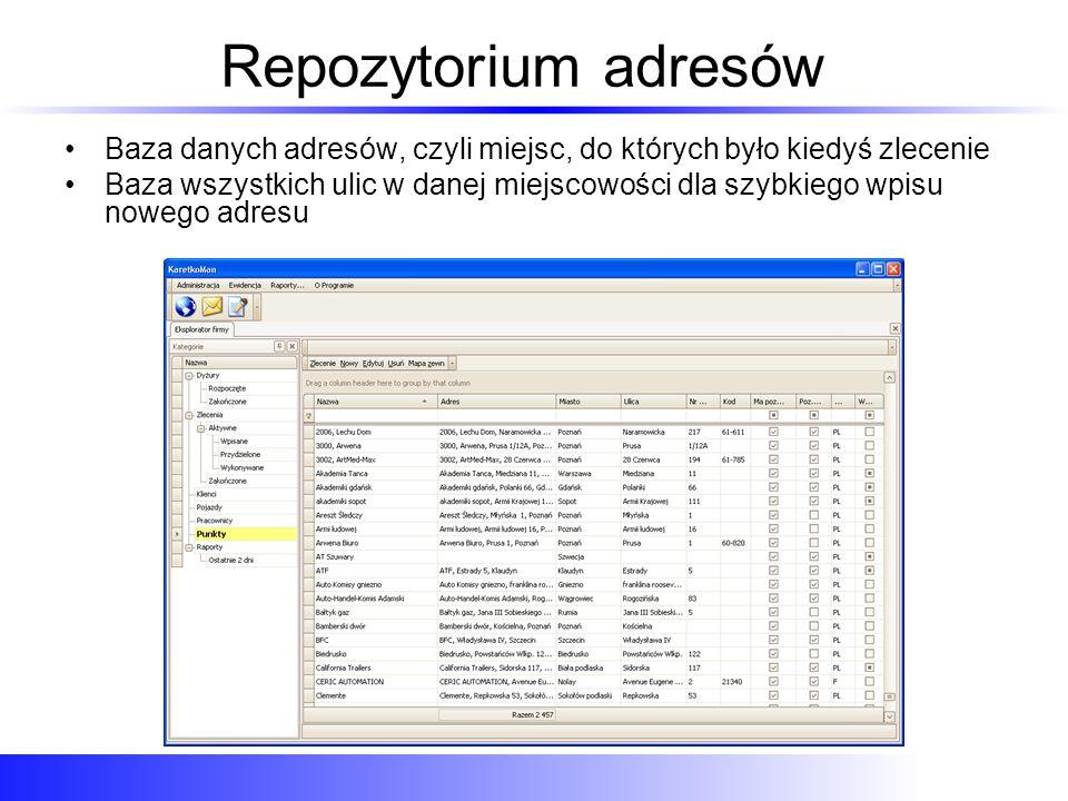 Wyszukiwanie miejsca Dodawanie punktów do zlecenia: Szybkie wyszukiwanie miejsca docelowego z listy wpisanych adresów na podstawie poszczególnych lub wszystkich danych z repozytorium adresów