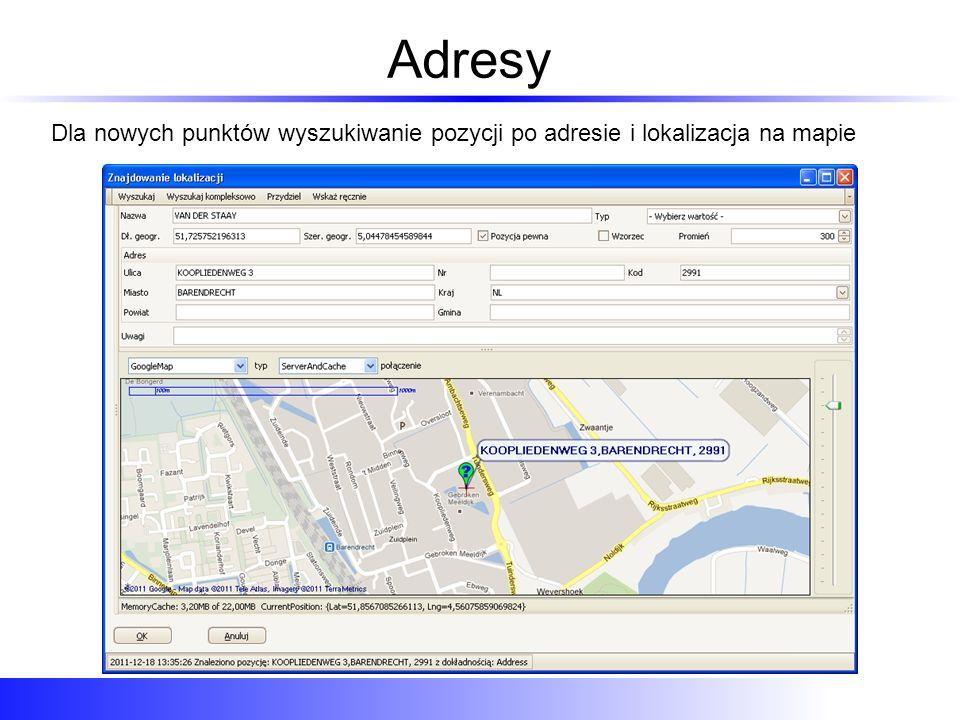 Planowanie trasy Na jednym ekranie: lokalizacja punktów, obliczanie trasy i odległości Tutaj dodano punkt w Grodzisku (przy większym powiększeniu mapy) aby ominąć autostradę A2 Po kliknięciu system sam odgaduje adres i wpisuje punkt do zlecenia Punkty PRZEZ są przesyłane do PDA razem ze zleceniem gwarantując taki sam przebieg trasy w nawigacji System od razu podaje ilość kilometrów między odcinkami oraz dla całej trasy Punkty trasy od razu są pokazywane na mapie Tutaj znajduje się hurtownia Oaza, której adres został geokodowany przy wpisywaniu punktu Wystarczy kliknąć Planuj, aby zobaczyć zaplanowaną trasę Oto zaplanowania trasa Oraz jej dane: Opis, ilość punktów, przez kogo i kiedy utworzona Jeśli trasa nie przebiega po naszej myśli można dodać punkt PRZEZ, po prostu klikając na mapie