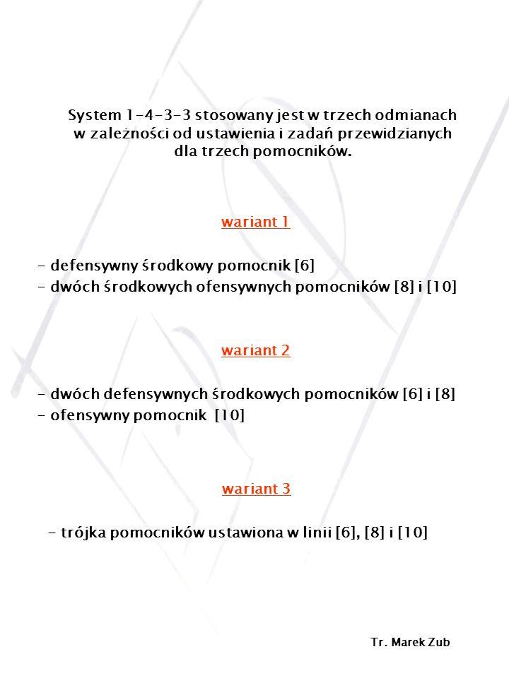 System 1-4-3-3 stosowany jest w trzech odmianach w zależności od ustawienia i zadań przewidzianych dla trzech pomocników. wariant 1 - defensywny środk