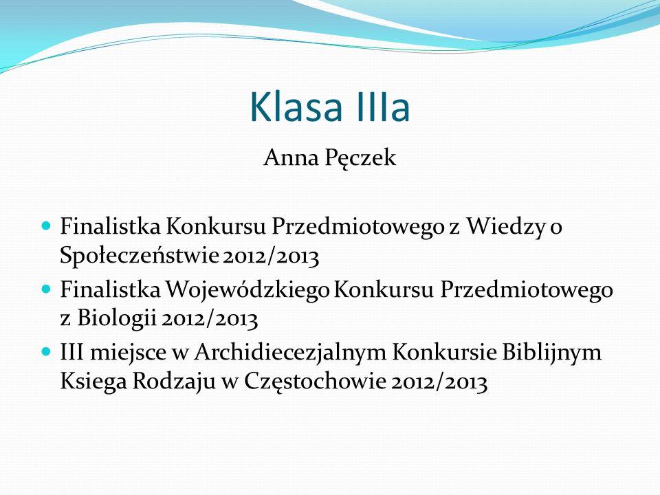 Klasa IIIa Anna Pęczek Finalistka Konkursu Przedmiotowego z Wiedzy o Społeczeństwie 2012/2013 Finalistka Wojewódzkiego Konkursu Przedmiotowego z Biolo