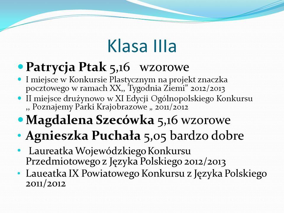 Klasa IIIa Patrycja Ptak 5,16 wzorowe I miejsce w Konkursie Plastycznym na projekt znaczka pocztowego w ramach XX,, Tygodnia Ziemi 2012/2013 II miejsc