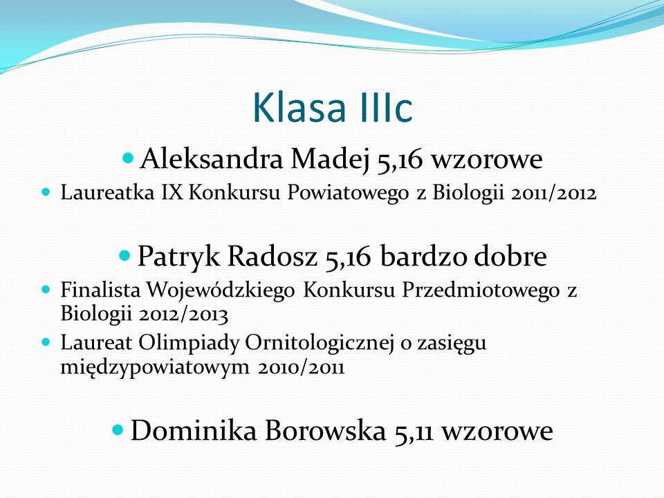 Klasa IIIc Aleksandra Madej 5,16 wzorowe Laureatka IX Konkursu Powiatowego z Biologii 2011/2012 Patryk Radosz 5,16 bardzo dobre Finalista Wojewódzkieg