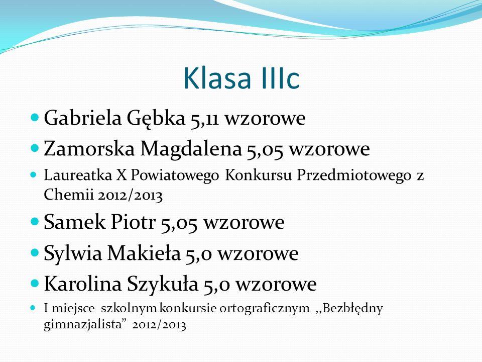 Klasa IIIc Gabriela Gębka 5,11 wzorowe Zamorska Magdalena 5,05 wzorowe Laureatka X Powiatowego Konkursu Przedmiotowego z Chemii 2012/2013 Samek Piotr