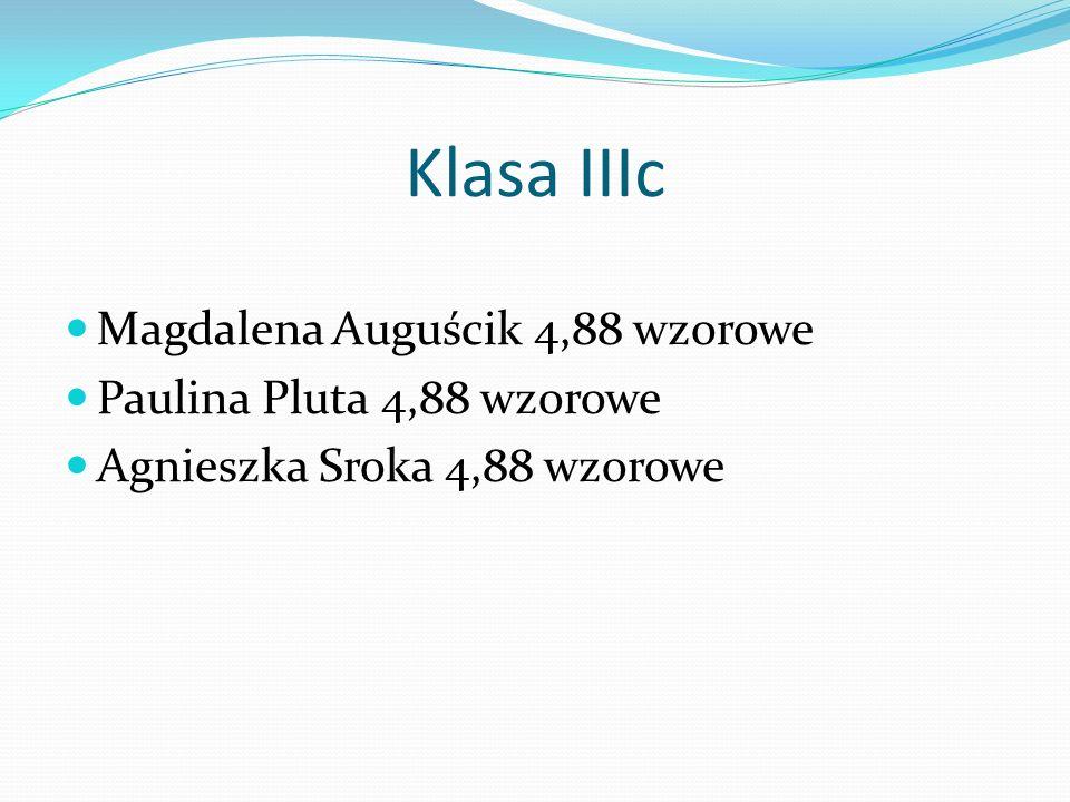 Klasa IIIc Magdalena Auguścik 4,88 wzorowe Paulina Pluta 4,88 wzorowe Agnieszka Sroka 4,88 wzorowe
