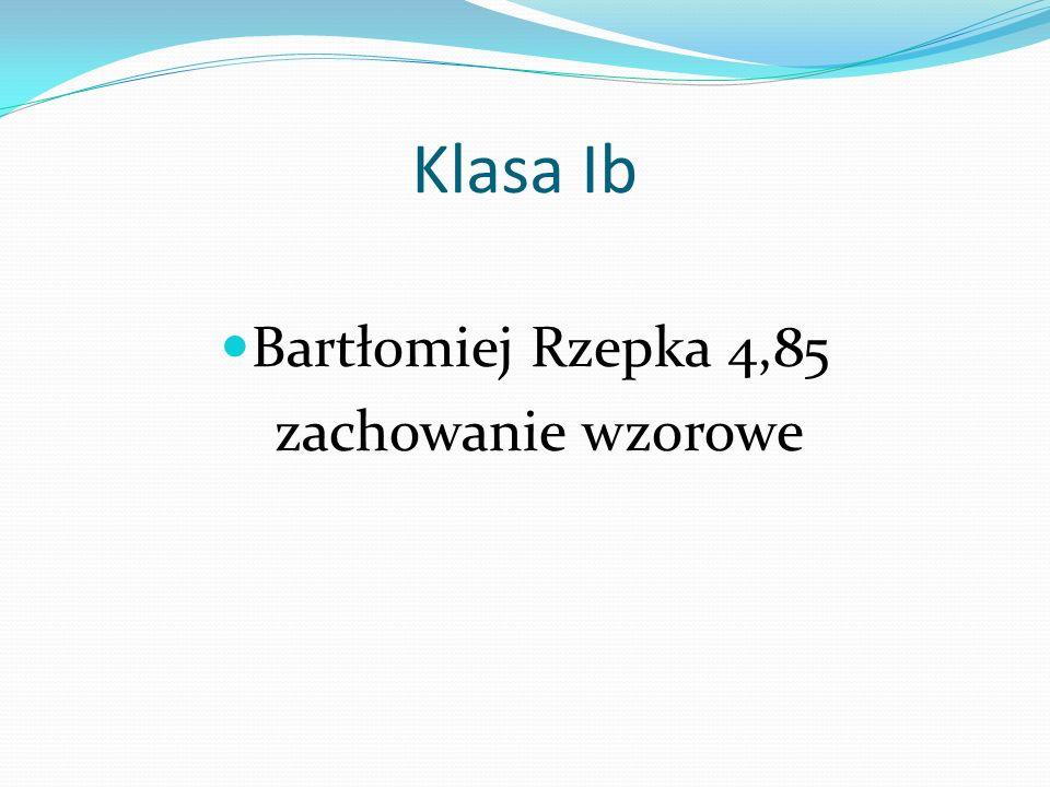 Klasa Ib Bartłomiej Rzepka 4,85 zachowanie wzorowe