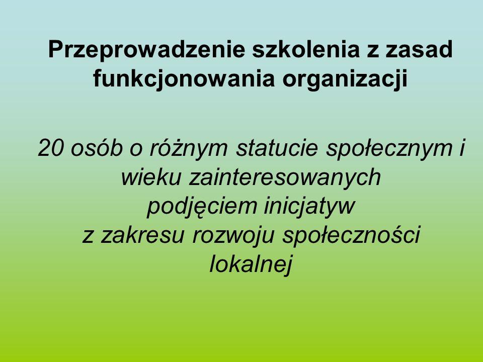 Przeprowadzenie szkolenia z zasad funkcjonowania organizacji 20 osób o różnym statucie społecznym i wieku zainteresowanych podjęciem inicjatyw z zakre