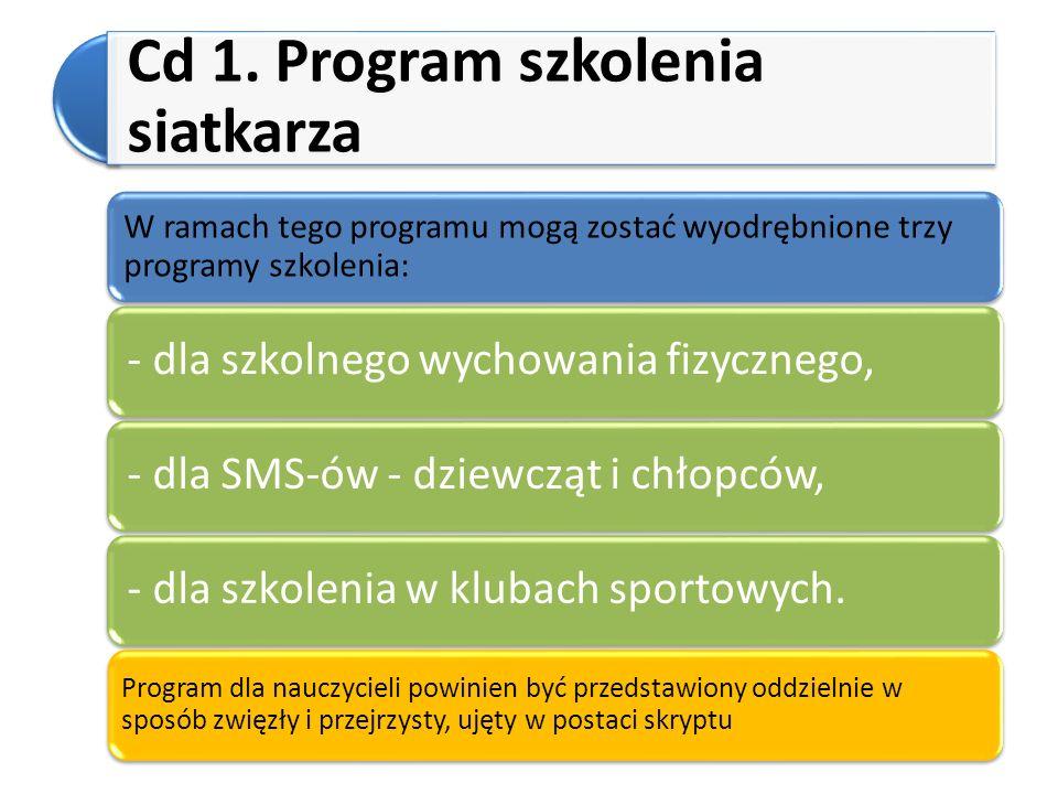 Cd 1. Program szkolenia siatkarza W ramach tego programu mogą zostać wyodrębnione trzy programy szkolenia: - dla szkolnego wychowania fizycznego,- dla