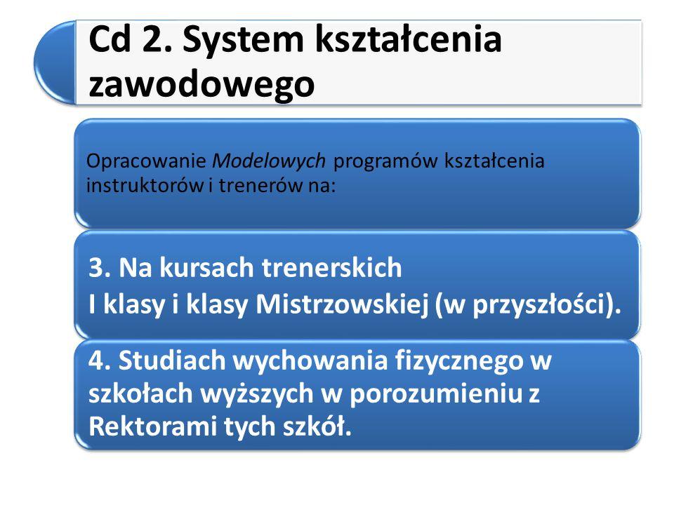Cd 2. System kształcenia zawodowego Opracowanie Modelowych programów kształcenia instruktorów i trenerów na: 3. Na kursach trenerskich I klasy i klasy