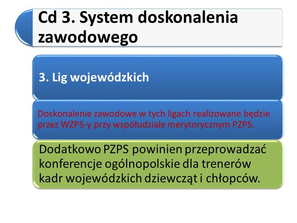 Cd 3. System doskonalenia zawodowego 3. Lig wojewódzkich Doskonalenie zawodowe w tych ligach realizowane będzie przez WZPS-y przy współudziale merytor