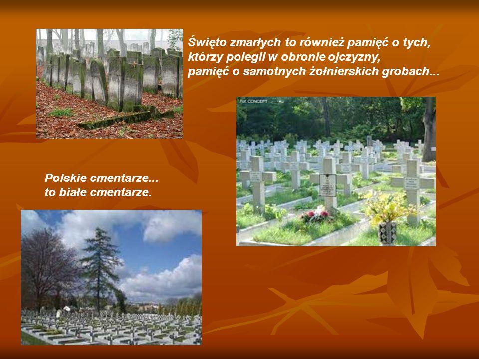 Święto zmarłych to również pamięć o tych, którzy polegli w obronie ojczyzny, pamięć o samotnych żołnierskich grobach... Polskie cmentarze... to białe