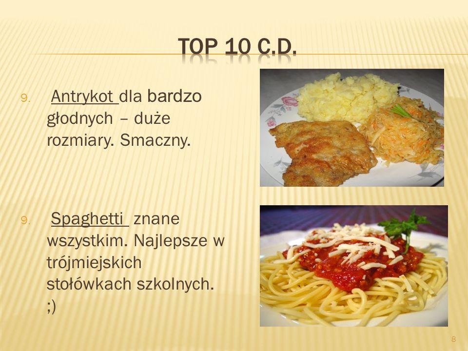 8 9. Antrykot dla bardzo głodnych – duże rozmiary. Smaczny. 9. Spaghetti znane wszystkim. Najlepsze w trójmiejskich stołówkach szkolnych. ;)