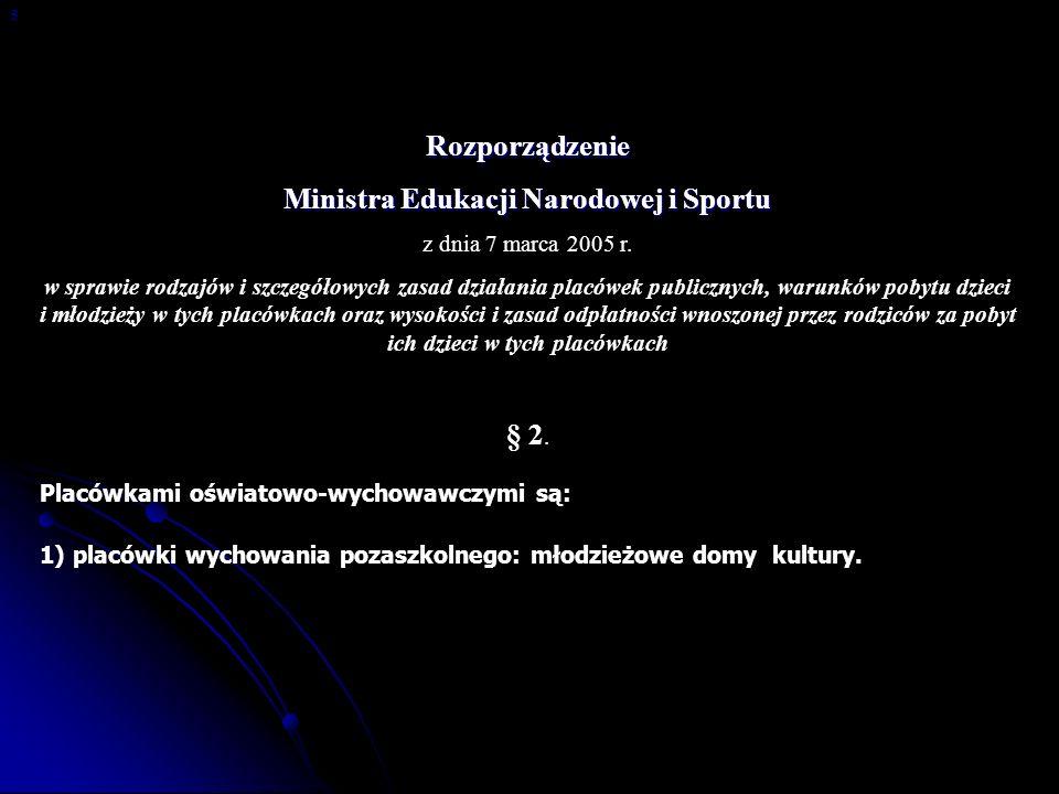 Rozporządzenie Ministra Edukacji Narodowej i Sportu z dnia 7 marca 2005 r. w sprawie rodzajów i szczegółowych zasad działania placówek publicznych, wa