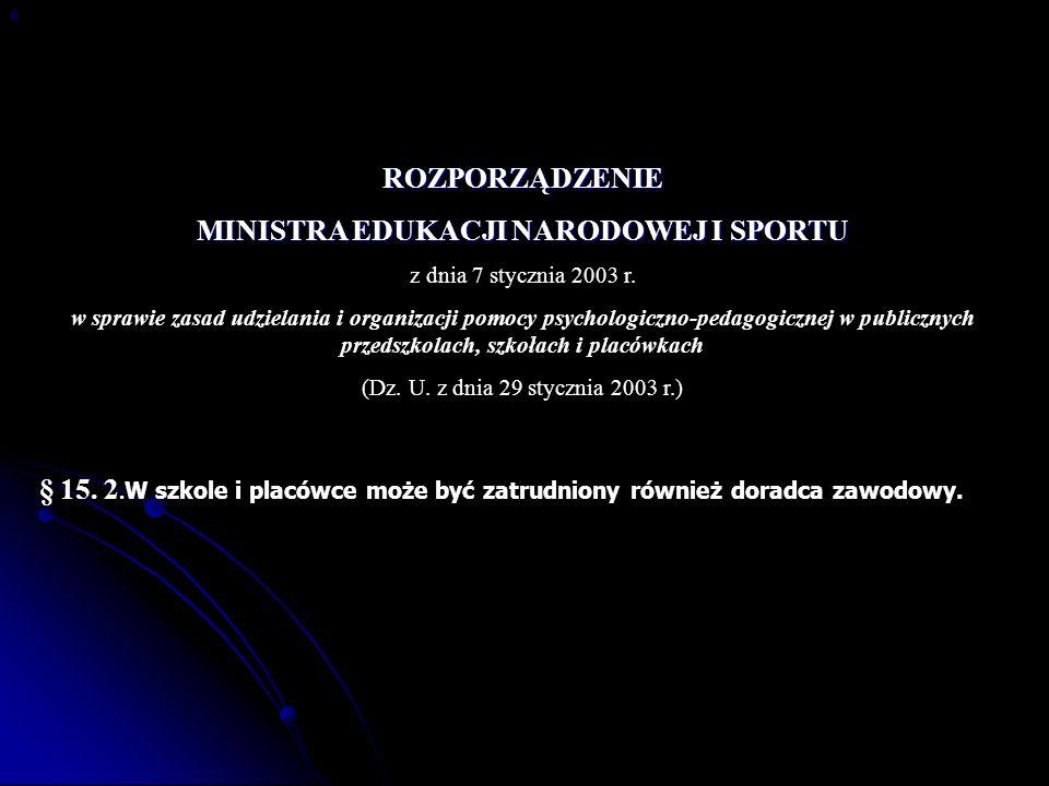 Rozporządzenie Ministra Edukacji Narodowej i Sportu z dnia 23 kwietnia 2003 r.