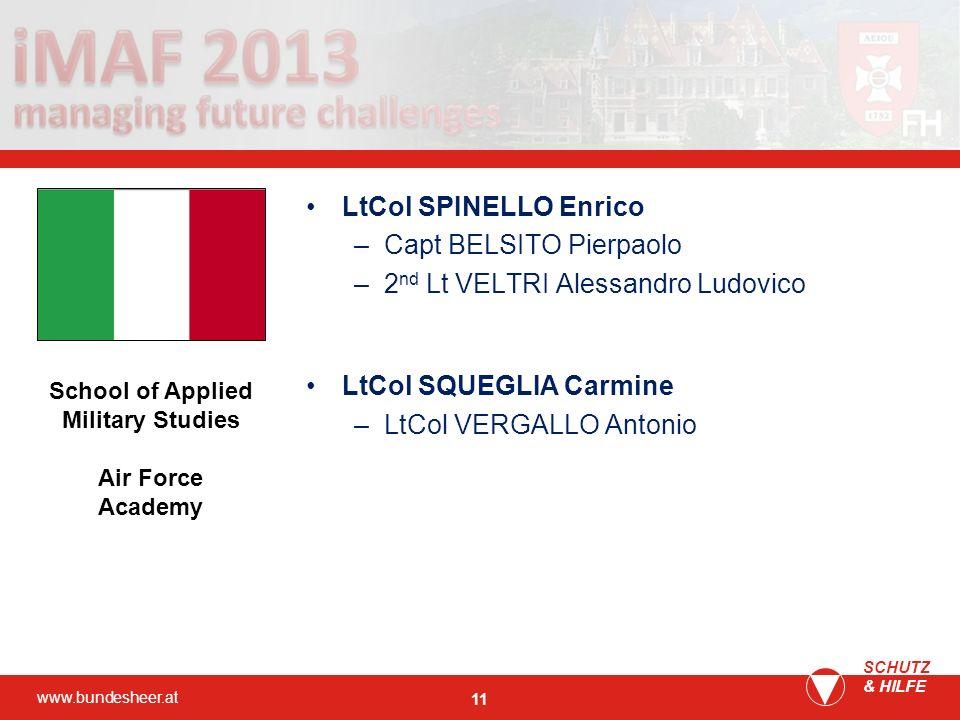 www.bundesheer.at SCHUTZ & HILFE 11 LtCol SPINELLO Enrico –Capt BELSITO Pierpaolo –2 nd Lt VELTRI Alessandro Ludovico LtCol SQUEGLIA Carmine –LtCol VE