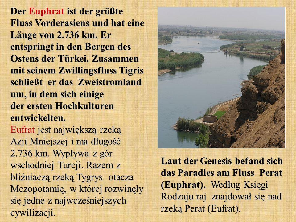 Der Euphrat ist der größte Fluss Vorderasiens und hat eine Länge von 2.736 km. Er entspringt in den Bergen des Ostens der Türkei. Zusammen mit seinem