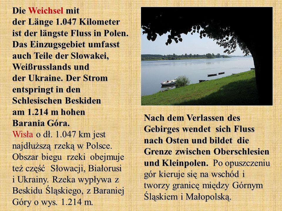 Die Weichsel mit der Länge 1.047 Kilometer ist der längste Fluss in Polen. Das Einzugsgebiet umfasst auch Teile der Slowakei, Weißrusslands und der Uk
