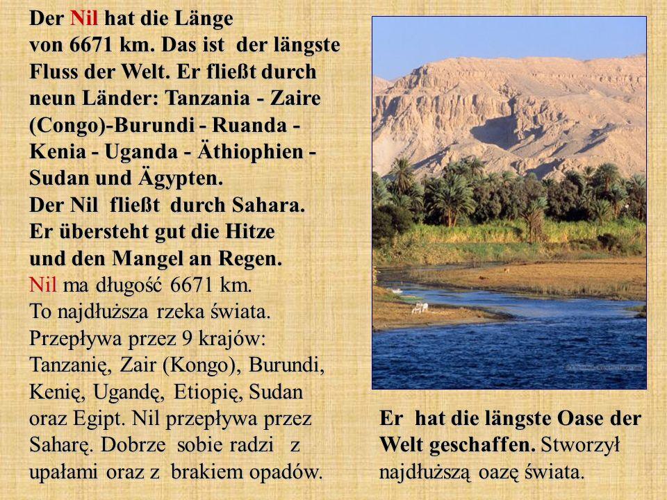 Der Nil hat die Länge von 6671 km. Das ist der längste Fluss der Welt. Er fließt durch neun Länder: Tanzania - Zaire (Congo)-Burundi - Ruanda - Kenia