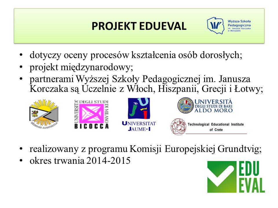 PROJEKT EDUEVAL dotyczy oceny procesów kształcenia osób dorosłych; projekt międzynarodowy; partnerami Wyższej Szkoły Pedagogicznej im. Janusza Korczak