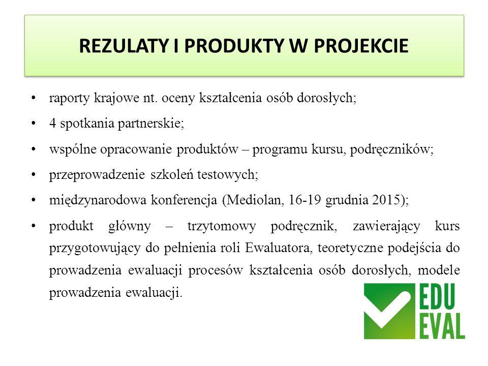 REZULATY I PRODUKTY W PROJEKCIE raporty krajowe nt. oceny kształcenia osób dorosłych; 4 spotkania partnerskie; wspólne opracowanie produktów – program