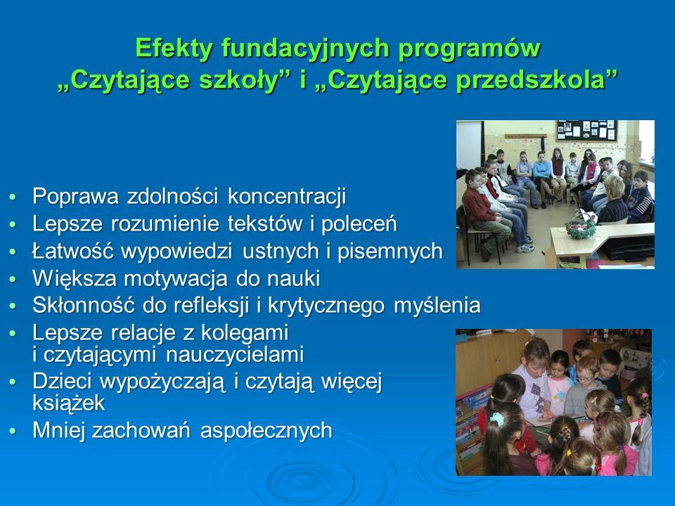 """Efekty fundacyjnych programów """"Czytające szkoły"""" i """"Czytające przedszkola"""" Poprawa zdolności koncentracji Poprawa zdolności koncentracji Lepsze rozumi"""