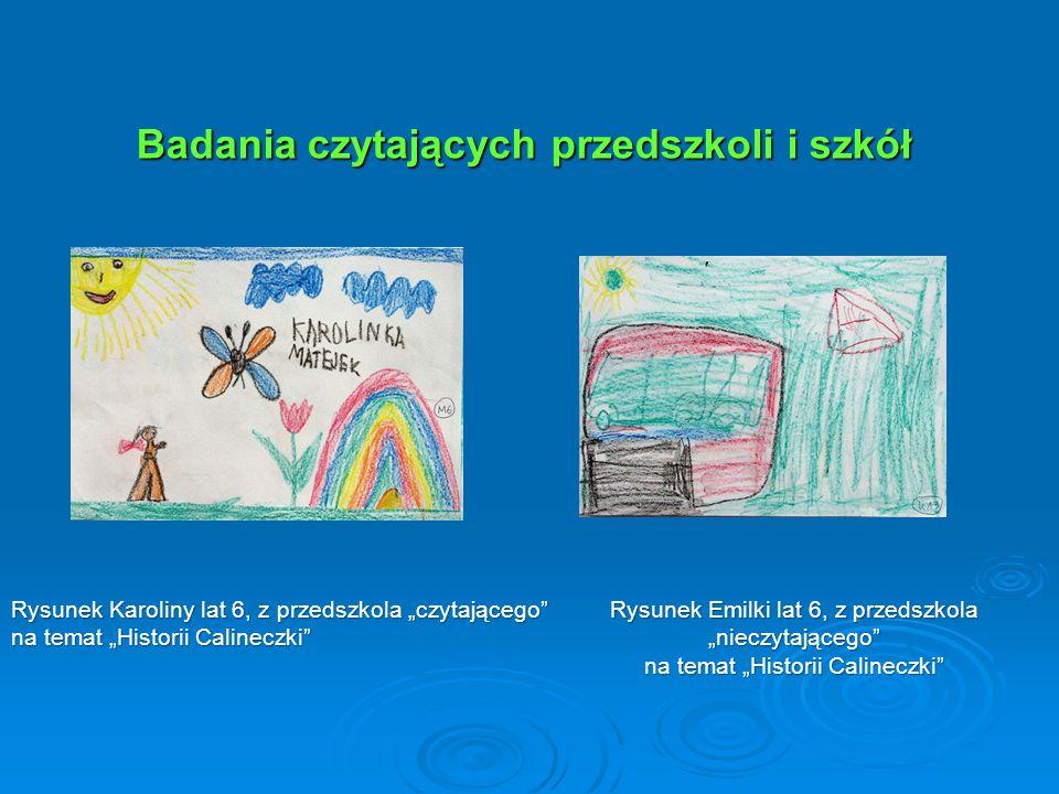 """Badania czytających przedszkoli i szkół Badania czytających przedszkoli i szkół Rysunek Emilki lat 6, z przedszkola """"nieczytającego"""" na temat """"Histori"""