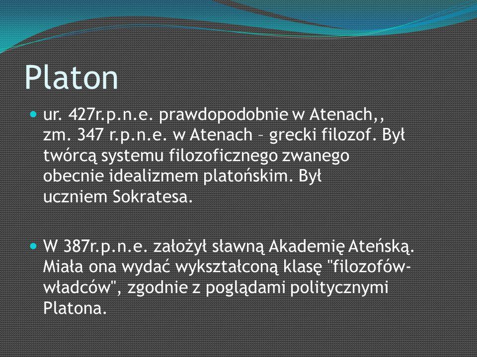 Platon ur. 427r.p.n.e. prawdopodobnie w Atenach,, zm.